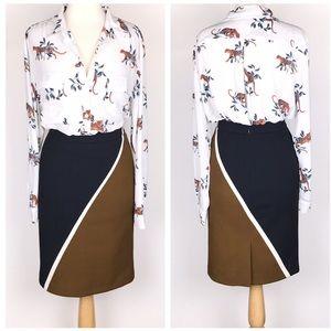 Ann Taylor Colorblock Pencil Skirt Career
